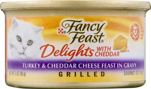 (Fancy Feast Delights with Cheddar Turkey & Cheddar Cheese Feast in Gravy Grilled Gourmet Cat Food)
