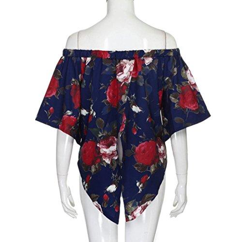 SKY Moda Mujer Verano suelta superior de la blusa del hombro Casual Tops T-Shirt Azul