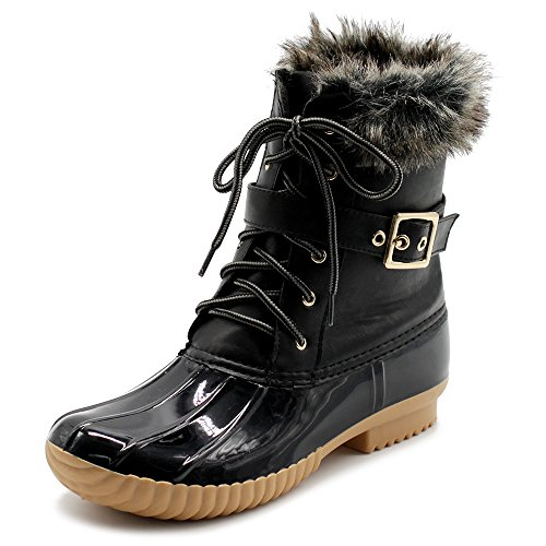 Ollio Women Shoe Lace Up Faux Fur Buckled Duck Boots DCK01 (8.5 B(M) US, Black) ()