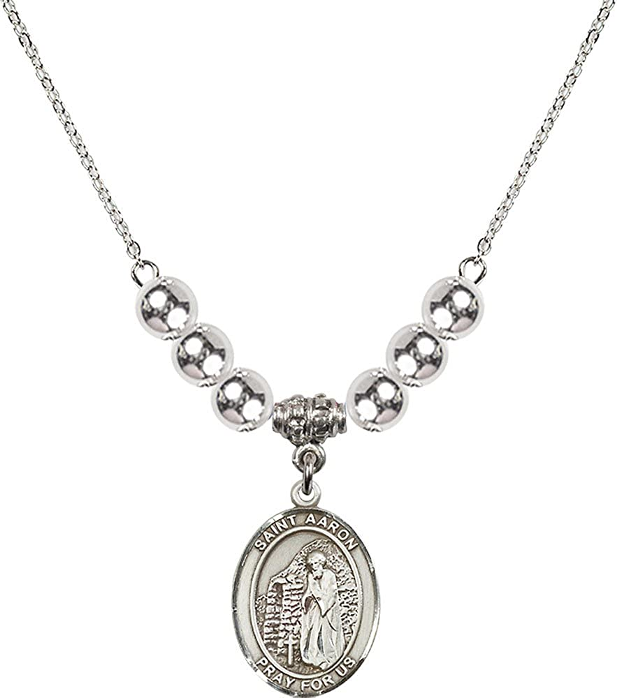 18-Inch Rhodium Plated Necklace with 6mm Sterling Silver Beads and Sterling Silver Saint Aaron Charm.