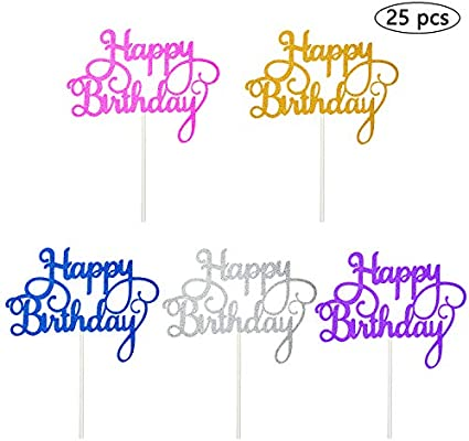 Vordas Welecoco Topper de Pastel de Cumpleaños,25 Piezas Topper Feliz Cumpleaños Happy Birthday Cake Topper Cake Decorations para Tarta para ...