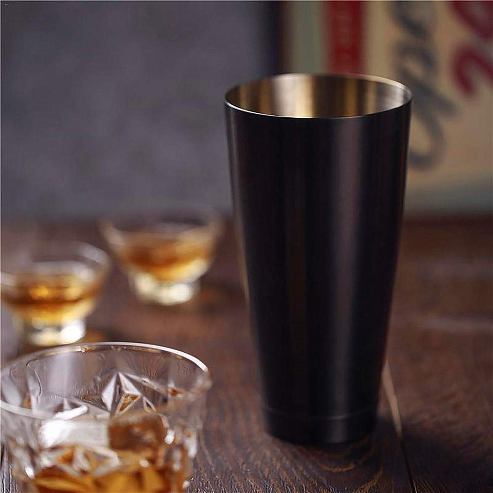 Black Boston Cocktail Shaker 2 Pieces Set: 540 ml & 840 ml Weighted Professional Bartender Shaker Kit
