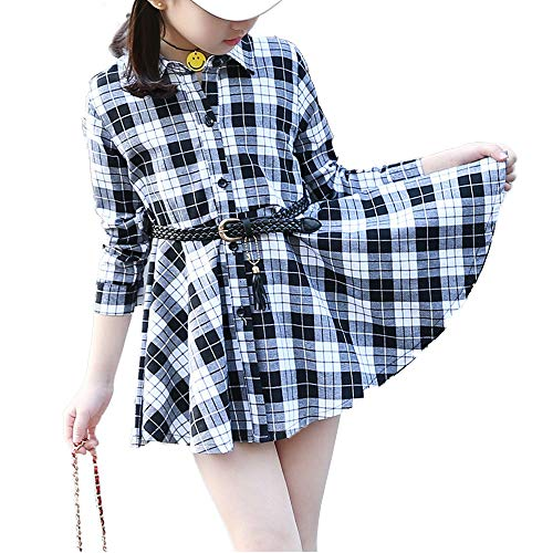 Kids Girls' Casual Check Plaid Dress A Line Collar Neck Button Down Shirt Dress Black Tag 140 (8-9 Years) -