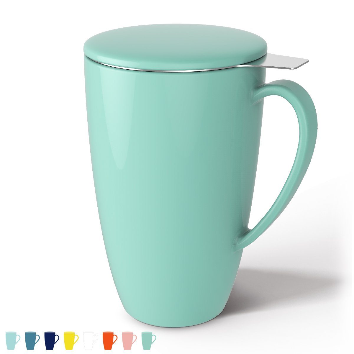 Sweese 2109 Porcelain Tea Mug with Infuser and Lid, 15 OZ, Mint Green