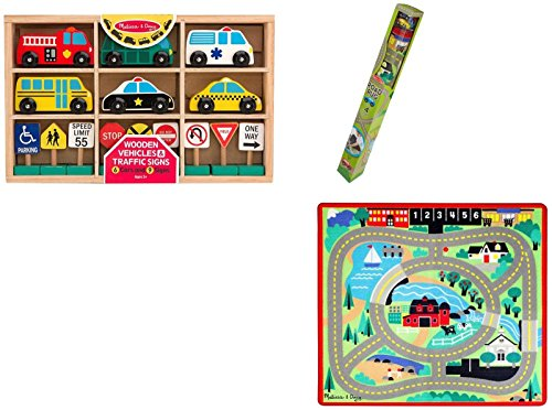 Melissa & Doug Round The Town Road Rug, Vehicles & Traffic Signs Set Vehicle Doug Stop Sign