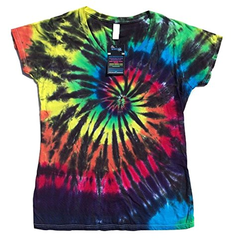 BMD - 100% Cotton Black Rainbow Fitted V-neck T-shirt Juniors (Small)
