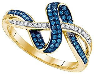 10kt Yellow Gold Womens Round Blue Colored Diamond Band Ring 1/4 Cttw