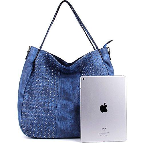 Bags Bags Handbags Weave Hobo Handbags Blue Shop Shoulder Purse CASELAND Women PU Fashion Leather Large wqUxRY