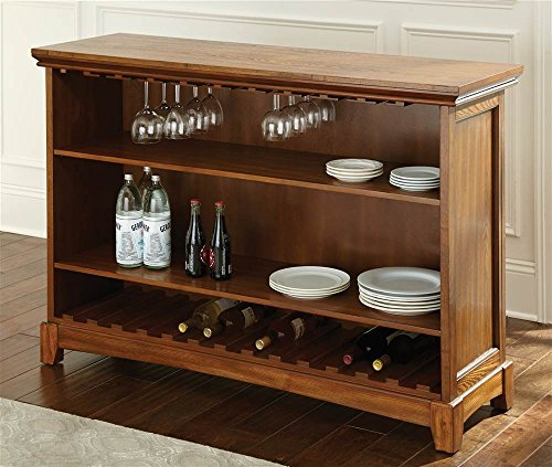 Steve Silver Company Martinez Counter Bar with Foot Rail, Oak