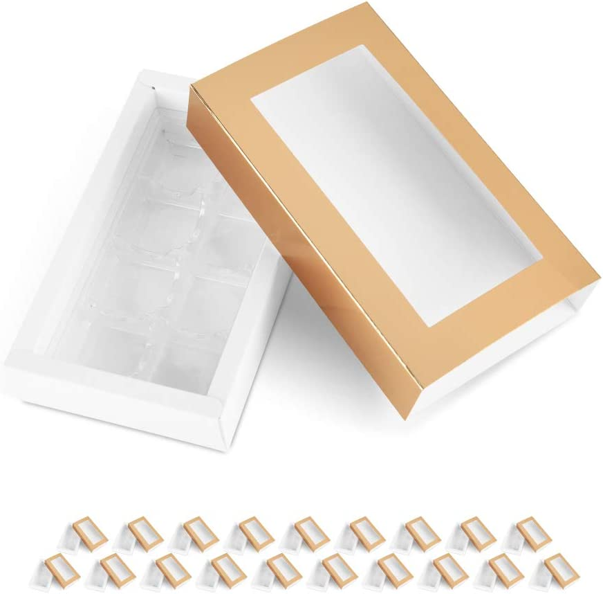 BAKIPACK 20 Truffle Box, Chocolate Gift Box Packaging, Candy Boxes with 8-Piece Plastics Tray(Tray Size with 5.75x2.75 Inches), Pull Out Packing with Clear Window Sleeves, Gold