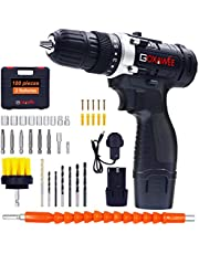 Cordless Drill Driver - 12V, GOXAWEE 100Pcs Electric Screwdriver Set with 2 x 1500mAh Rechargeable Lithium Batteries, Wall Drill Bit, Drill Brush, Flexible Shaft and Other Drill Tool Accessories