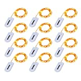 String Lights, Kohree 12 Pack Micro 30 LEDs Super Bright Copper Wire Lights Battery Operated on 5 Ft Long Decor Rope Lights for Holiday, Wedding,Home,Party Decoration