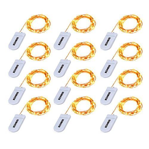 Kohree 12 Pack LED String Lights Copper Wire Lights, Battery Operated Starry Fairy Lights, Decor Rope Lights for Seasonal Decoration Home,Holiday, Wedding, Party(Warm White,2.2m /7.2ft)