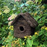 RATTAN EFFECT WOODEN BIRD HOUSE RUSTIC BUSH WOOD NESTING BOX WOODEN HOOK NATURAL LOOK