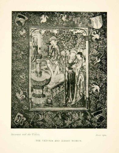 1906 Print Susanna Elders Bath 1500 Victory Albert Museum Textile Biblical - Original Halftone Print by...