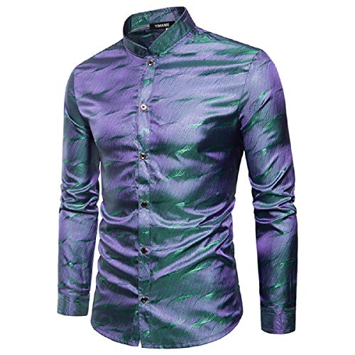 Silk Communion Dress (YIMANIE Mens Regular Fit Long Sleeve Shiny Silk Like Satin Dance Prom Luxury Dress Shirt Camouflage)