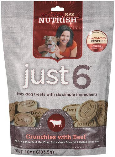 Rachael Ray Nutrish Just 6 Dog Treats, Real Beef Crunchies, 10-ounce Pouch