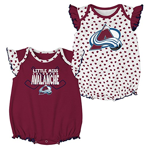 Outerstuff NHL Colorado Avalanche Children Girls Hockey Hearts 2Piece Onesie Set, 6-9 Months, White