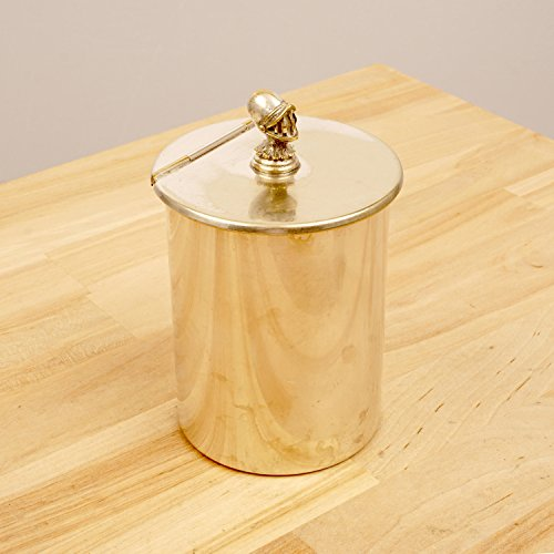 ALPADUR Cylinder box with a lid / Money bank / Donation box / Charity box / Bin || Vintage silver plated on brass || Knight Helmet (Plated Helmet Knight)