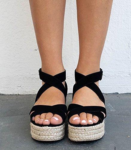 Open Espadrille Toe Sandals Syktkmx Strappy A Womens Ankle Flat Flatform black Platform xqXwAOwI