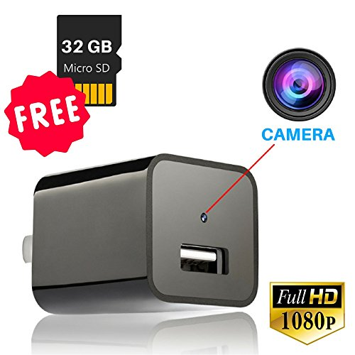 IMPROVED Hidden Camera USB Wall Charger - 32GB Mini Nanny Spy Cam HD 1080P with Motion Detection for Home, Office, Hotel - Times Opening Premium Outlets