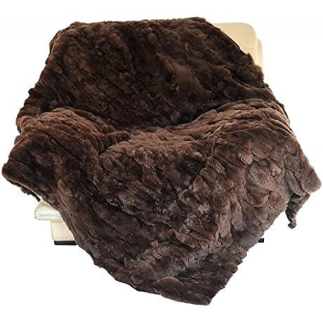 CX FUR Home Rug Patchwork Rex Rabbit Fur Blanket Brown 218x218cm