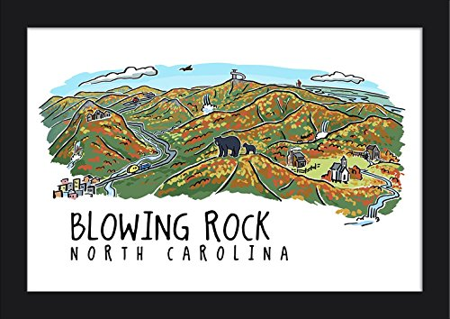Blowing Rock, North Carolina - Line Drawing (18x12 Giclee Art Print, Gallery Framed, Black Wood)