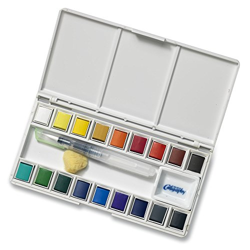 Jerry Q Art 18 Assorted Water Colors Travel Pocket Set- Free Refillable Water Brush with Sponge - Easy to Blend Colors - Built in Palette - Perfect for Painting On -