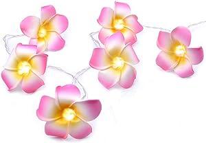 AceList Luau Hawaiian Party Decorations Pink Plumeria Flower 20 LED String Light Wedding Beach Party
