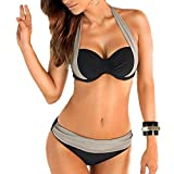 Windowpane® Women Double Colored Padded Push Up Halter Bikini Set US 8-10