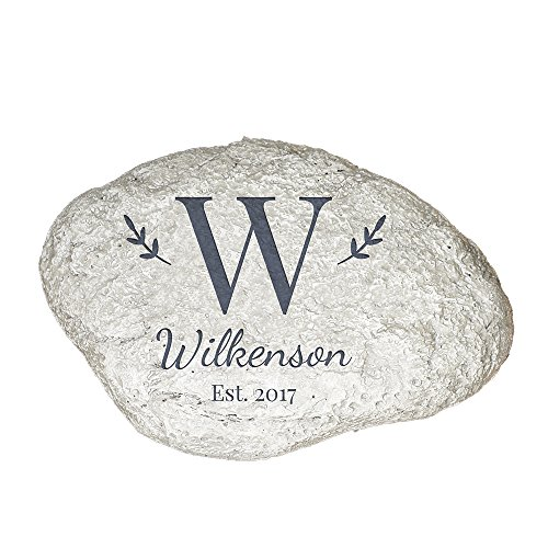 "GiftsForYouNow Family Initial Personalized Garden Stone, 11"" W x 8"" H x 1 ½"" D, Resin For Sale"