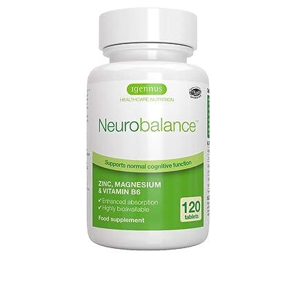 Neurobalance, zinc, magnesio y vitamina B6 suplemento para adultos y niños, 120 tabletas