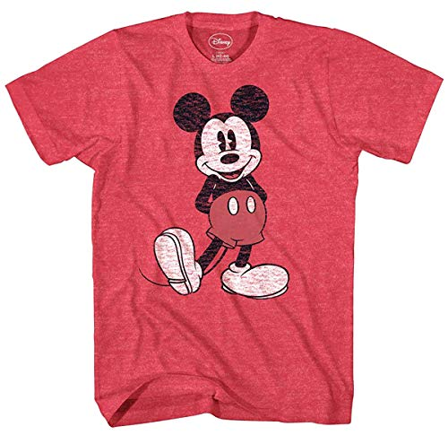 - Disney Men's Full Size Mickey Mouse Distressed Look T-Shirt, Red Heather, 3X-Large