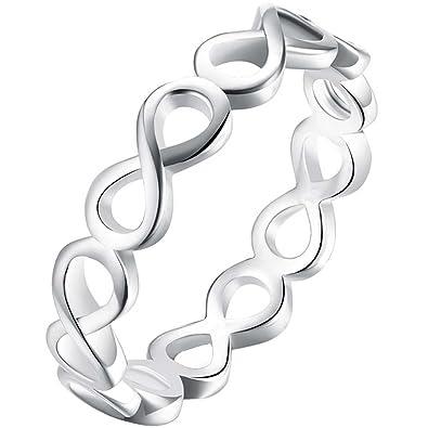 e509cbb444b Amazon.com: LWLH Womens 925 Sterling Silver Plated Polish Infinity ...