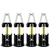 LED Camping Lantern - WINOW Camping Lantern 4 Pack Outdoor Portable LED Lantern Flashlights - Camping Equipment Gear Lights for Emergency, Hurricane, Storm, Outage(Black, Collapsible)