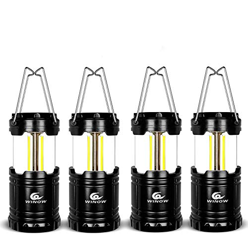 WINOW Camping Lantern 4 Pack Outdoor Portable LED Lantern Flashlights - Camping Equipment Gear Lights for Emergency, Hurricane, Storm, Outage(Black, Collapsible)