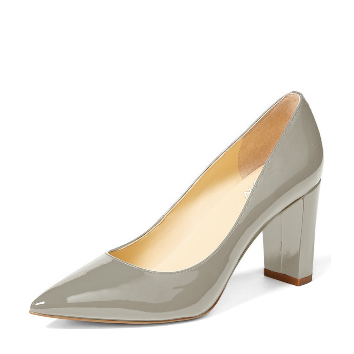 YDN Women's Classic Pointy Toe OL Pumps Slip-On Patent Leather Block Heel Dress Shoes B01MRP39VY 13 B(M) US|Grey
