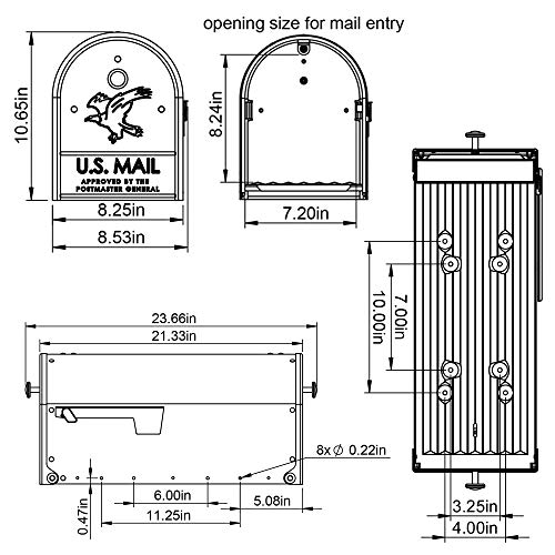 Gibraltar Mailboxes OM160B01 Outback Double Door, Large Capacity Mailbox Black by Gibraltar Mailboxes (Image #9)