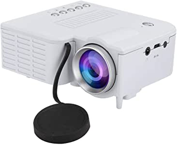 Mini Portable Projector, LED Home HD 1080P Miniature Portable Projector Convenient Power Supply Mute Projector Children Gift(White)