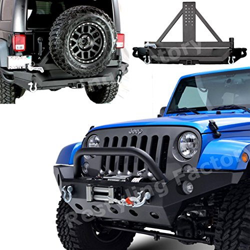 Restyling-Factory-07-16-Jeep-Wrangler-Rock-Crawler-Full-Width-Front-Bumper-w-Winch-PlateRear-Bumper-with-Tire-Carrier-and-2Hitch-Receiver-Textured-Black-Combo-Black