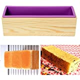JoyGlobal Wood Rectangular Shape Silicon Soap Cake Loaf Mould with Wooden Box, 2-Pieces Multicolor