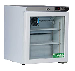 American BioTech Supply ABT-HC-UCFS-0104G Premier Undercounter Refrigerator, Freestanding, Glass Door, 1 cu. ft. Capacity, White