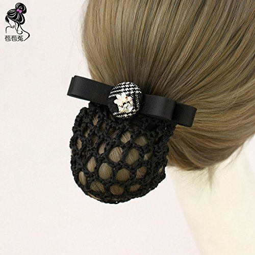 usongs Black and white checkered faceplate work invisible hairnet stewardess top folder head nurse occupation string bag flower hair accessories