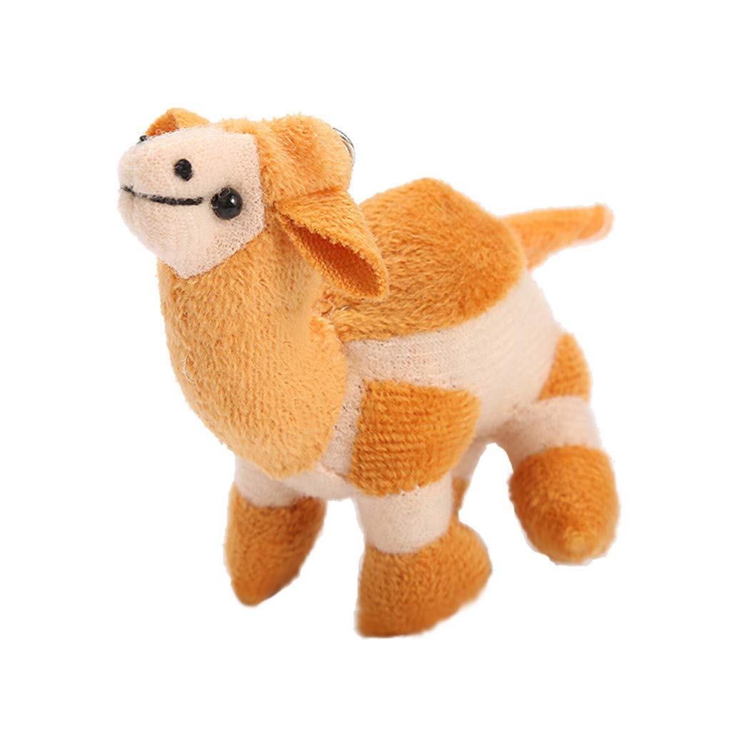 1 PC 4 inches Cute Soft Camel Key Chain Funny Stuffed Kids Gift Toy Plush Kids Adults 2019 New (Yellow)