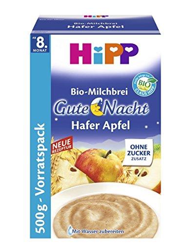Hipp La leche orgánica gachas de avena buenas noches papilla de manzana, 4-pack
