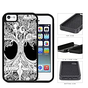 Ancient Tree Of Life Grayscale 2-Piece Dual Layer High Impact Rubber Silicone Cell Phone Case Apple iPhone 5 5s