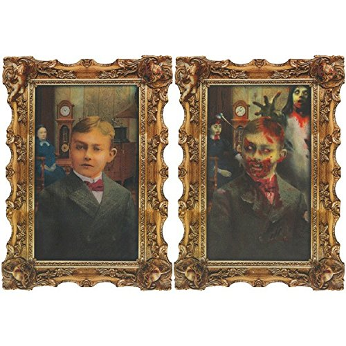 Amscan Rotting Zombie Lenticular Portrait Halloween Haunted House Wall Decoration, Multicolor, 18
