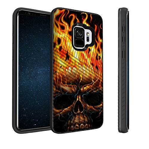 - Untouchble Case for Samsung Galaxy S9 Plus Case, S9+ Plus Hybrid Case [Stripe Force] Shockproof Premium TPU Inner Skin Layer Hard Plastic Outer Layer Cover - Skull on Fire