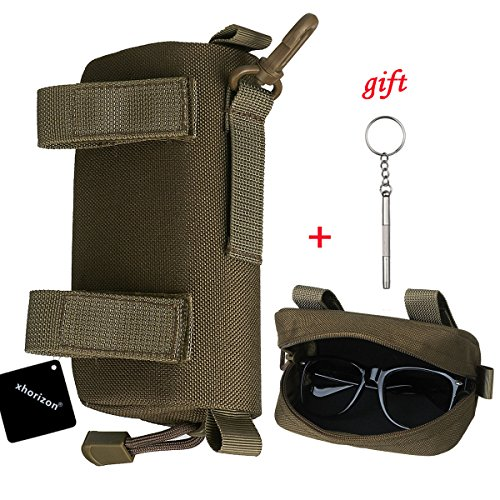 xhorizon SR Eyeglasses Case, 1000D Nylon Eyeglasses Hard Clamshell Carry Glasses Case Tactical Molle Sunglasses Carrying Case with Clip by xhorizon