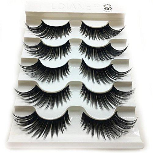 Clearance! Women's False Eyelashes, Jiayit 5 Pair/Box Fluffy Strip Lashes Natural Long Thick False Fake Eyelashes Reusable Eye Lashes Makeup Extensions (Black)